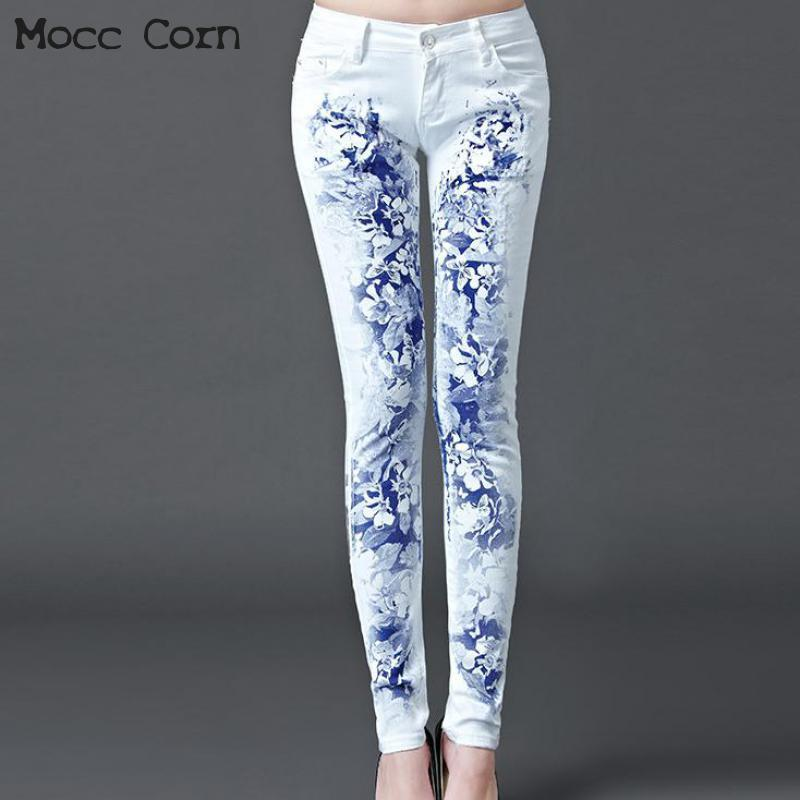 95f59004f8122 2019 Mocc Corn Cotton Flower Painted White Jeans Woman Printed Stretch Skinny  Jeans Women Denim Trousers Pencil Jean Slim Femme Pants From Cupidcloth