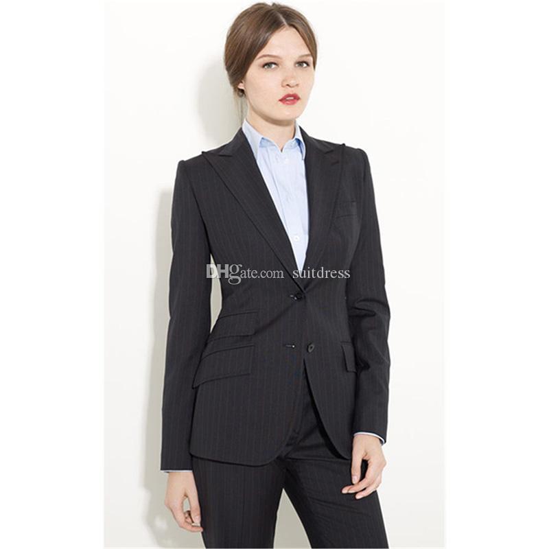 Black Formal Pants Suit Women Office Uniform Designs Women Female Business  Suit Fashion Elegant Style One Button Striped Suits Women s Suits Blazers  Women s ... ff2eaebd3
