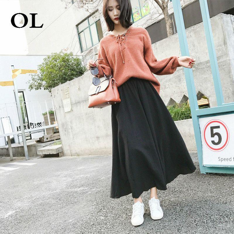 fb14bc638e 2019 OL2018 Autumn Winter Women Linen Skirt Fashion Casual Solid Colour  Cotton Stitching Hem A Line Midi Skirt H801 From Pingpo, $27.46 | DHgate.Com