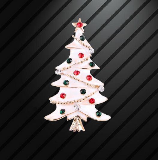 2018 2018 Wholesale Enamel White Crystal Christmas Tree Brooches ...