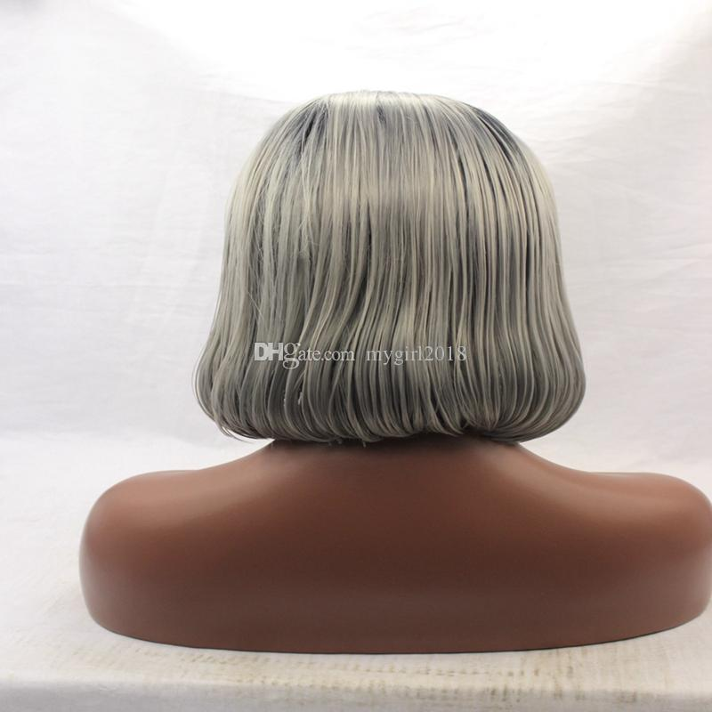 Fashion style Dark Root Ombre Gray Bob Black/Silver Gray Lace Front Wig Short Grey Bob Synthetic Bob Glueless Wigs For Black Women