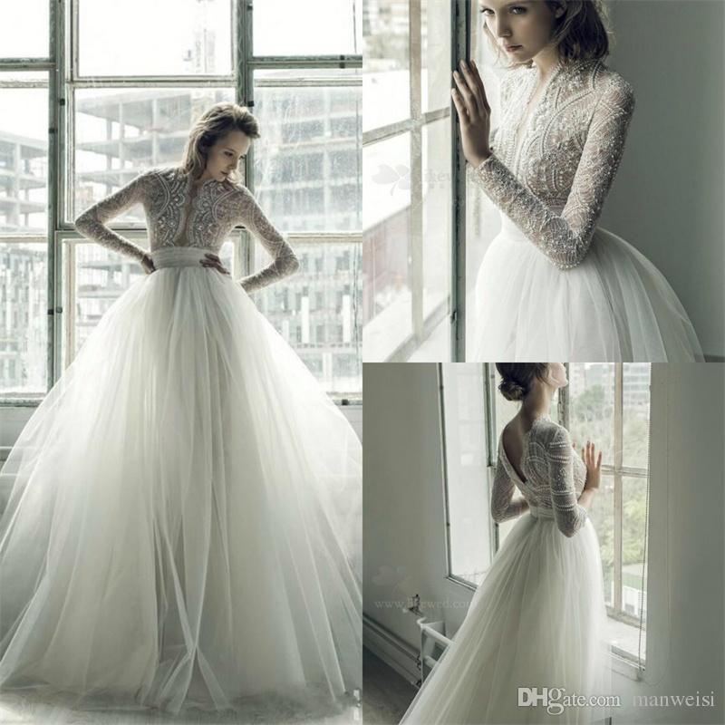 Discount Ersa Atelier 2018 A Line Wedding Dresses Long Sleeve Deep V