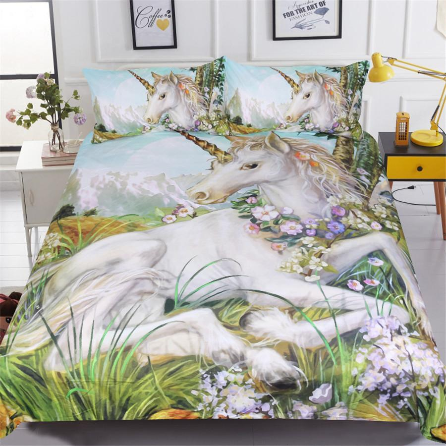 white horse bedding sets 3d unicorn printed comforter cover king queen twin sizes girls kids duvet cover sets home textile toddler bedding set navy blue - Horse Bedding