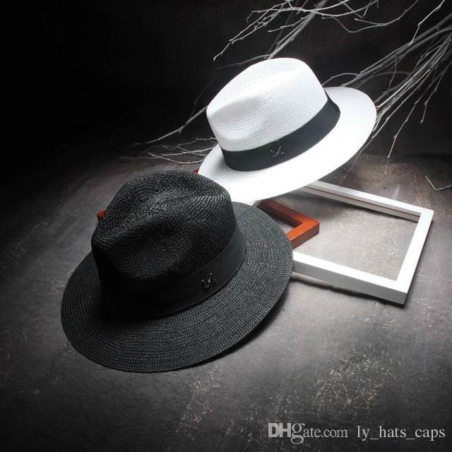 Compre Elegantes Sombreros De Jazz Negro Para Mujer Sombrero De Sol Blanco  Hombres Formal Azul 2018 Sombrero De Playa De Verano Sombrero De Paja De  Lujo ... 224a38e782a2