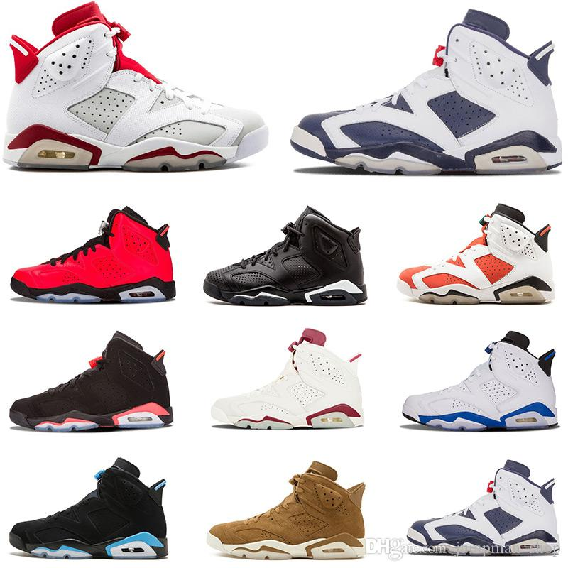 check out f12ee ea3cd Cheap New Basketball Shoes 6 6s Tinker Mens Shoe Sneaker UNC Blue Black Cat  White Infrared Red Carmine Maroon Trainers Sports Sneakers 40-47