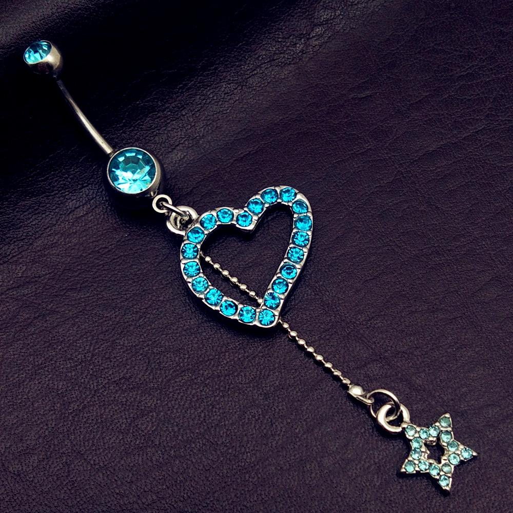 mix style vintage blue wings note star bow long dangle navel belly bar button rings body piercing jewelry