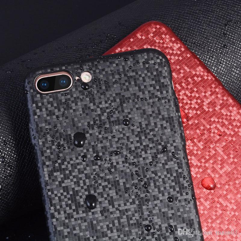 Fashion Mosaic Plastic Carbon Fiber Ultra-thin Plain Hard PC Matte Case Cover For For iphone X 8 7 6 6S 5 5S SE Plus iPhone7 iPhone8