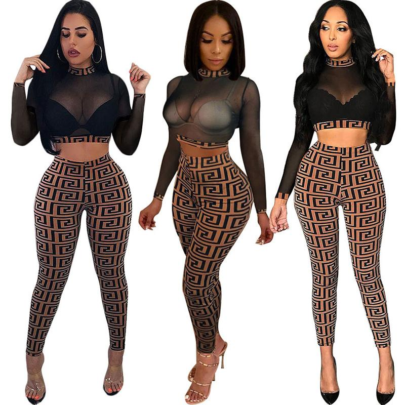 7fa66ed8447f4 2019 2018 Two Piece Set Autumn Winter Sexy Mesh Crop Tops Pencil Pants Suit  Trousers Nightclub Set Casual Plus Size Women Clothes Tracksuit 809 From ...
