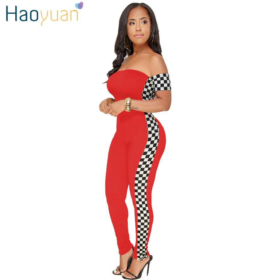 fcf3f7a3c27ad 2019 Wholesale S 3XL Checkerboard Plus Size Sexy Jumpsuit Off Shoulder  Casual Full Bodysuit Summer Overalls Rompers Womens Jumpsuit From  Clothesg119