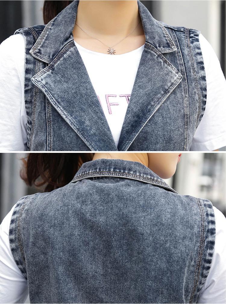 Весна осень отложным воротником женщины жилет ковбойская куртка 2017 новый повседневная средняя длинная без рукавов женщины жилет джинсовая куртка SES306