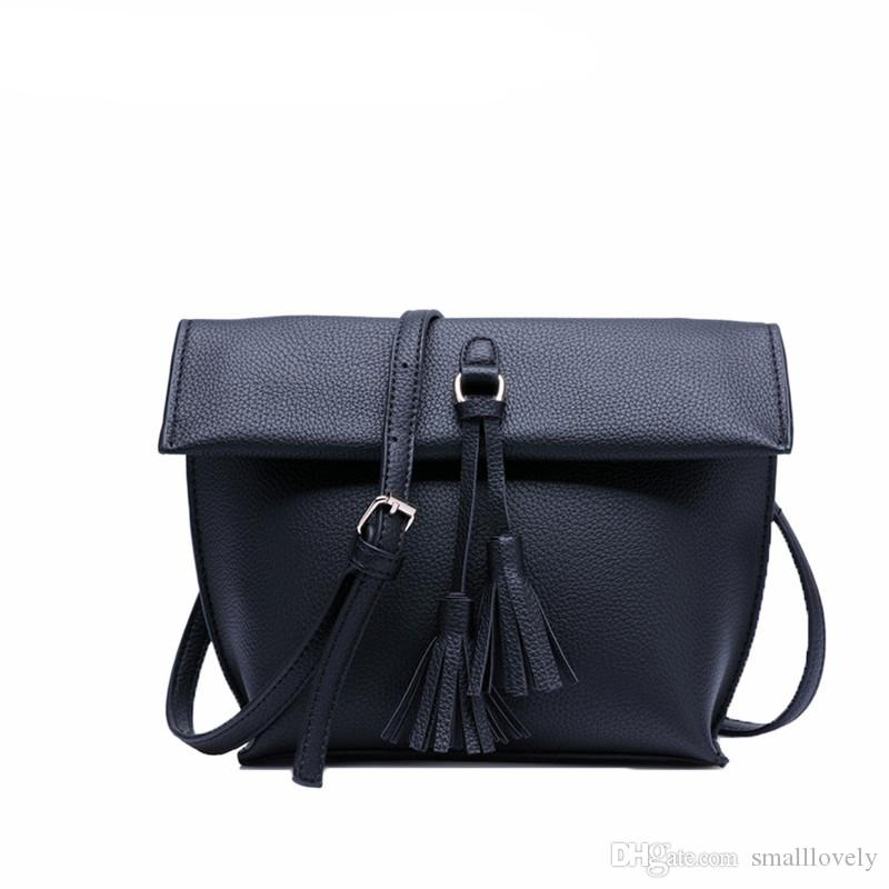 181b04a269 2018 Famous Design Fashion Vintage Tassel Pure Color Crossbody Bags Retro  Simple Pu Leather Shoulder Bags Black Handbags Weekend Bags From  Smalllovely