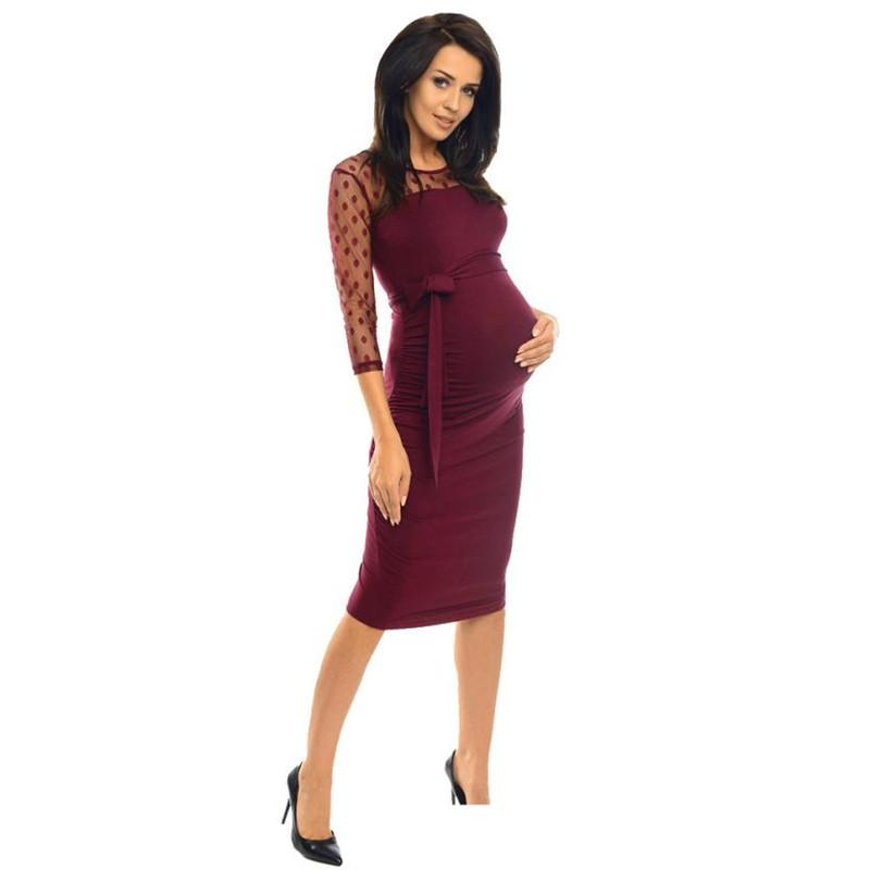 68e35e73d3eb0 2019 Wholesale Drop Shipping Women Maternity Ruched Bodycon Pregnancy Dress  With Polka Dot Lace Fashio ,CasualS3JUN11 From Paradise02, $41.11 |  DHgate.Com