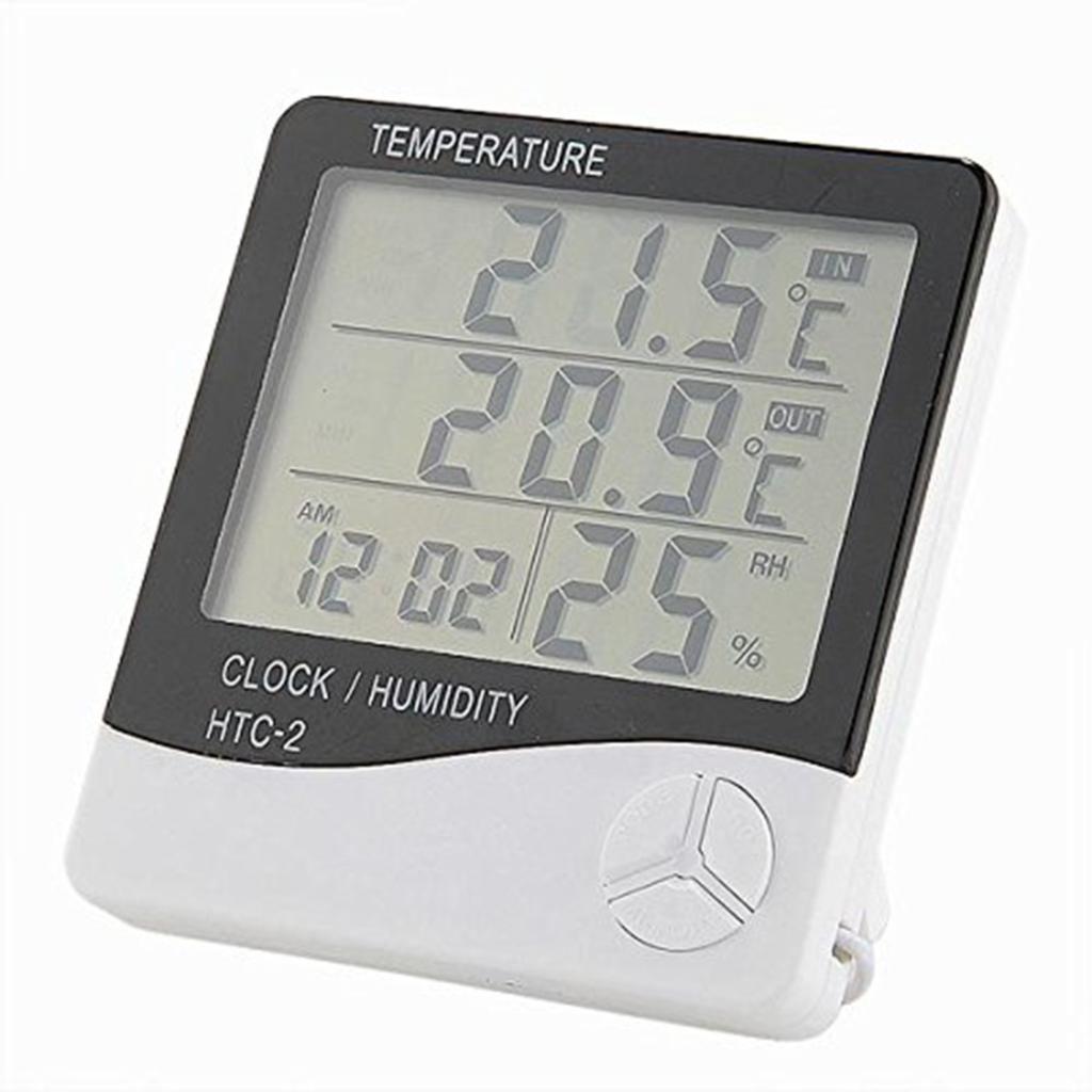 f5d1926f981 Compre Estação Meteorológica Digital LCD Medidor De Umidade De Temperatura  Interior   Exterior Quarto Termômetro Relógio Higrômetro Com Sensor De HTC  2 De ...