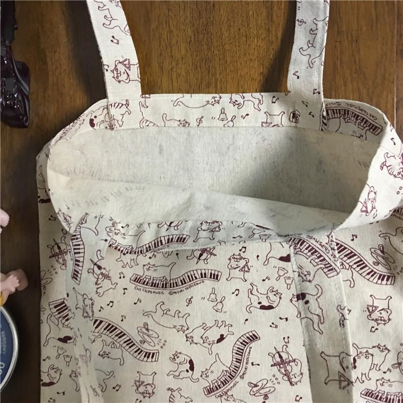 YILE 1-couche sans doublure coton lin Eco Shopping Tote Shoulder Bag Imprimer Cat jouer de la musique 17224-4