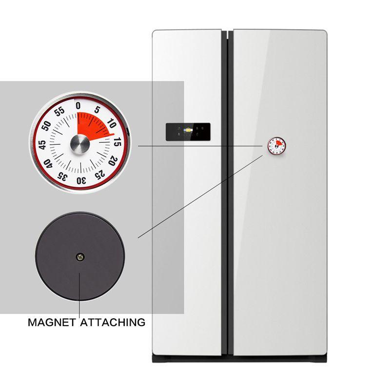 Nova Mini Mecânica Contagem Regressiva Temporizadores de Cozinha Ferramenta de Aço Inoxidável Forma Redonda Tempo de Cozimento Relógio Alarme Lembrete Temporizador Magnético