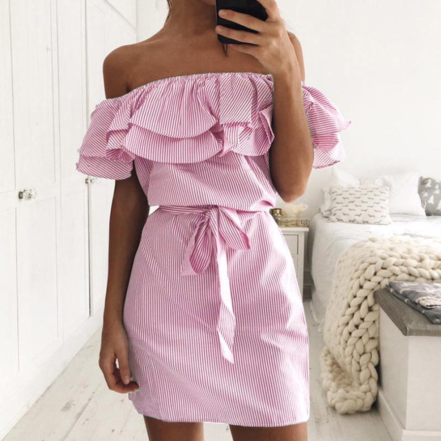5abc2aa8fb Compre Vestido De Verão 2018 Moda Europa E América Mini Dress Verão Off  Ombro Luva De Lótus 2XL Impressão Listrado Mulheres Vestem 1314 De  Caicaijin06
