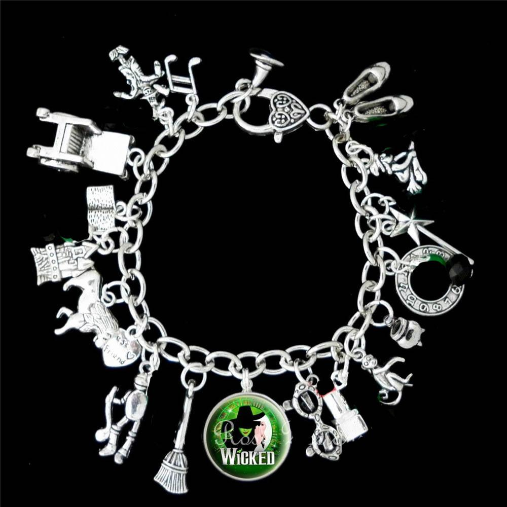 1e18fe7c9baf4 12pcs Wicked Musical Charm Bracelet The Untold Story Of The Of Oz silver  tone