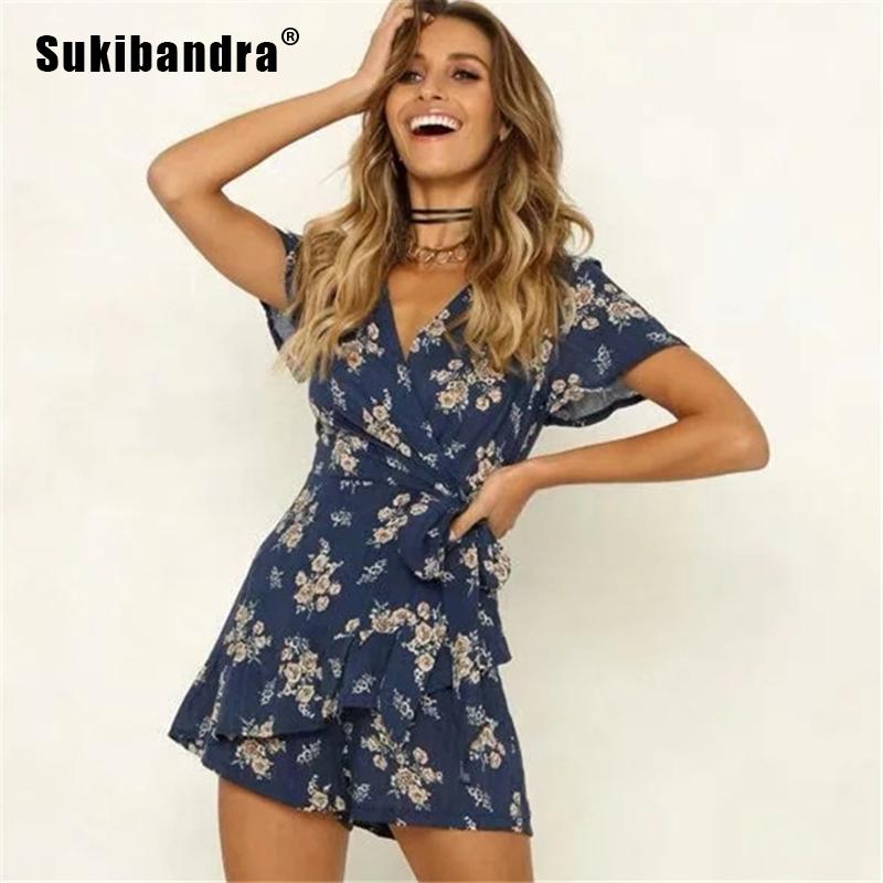 f54328bc0c7 2019 Sukibandra Summer Vintage Short Sleeve Floral Print Navy Blue Womens  Rompers Playsuit Boho V Neck Lace Up Wrap Green Jumpsuit From Vikey16