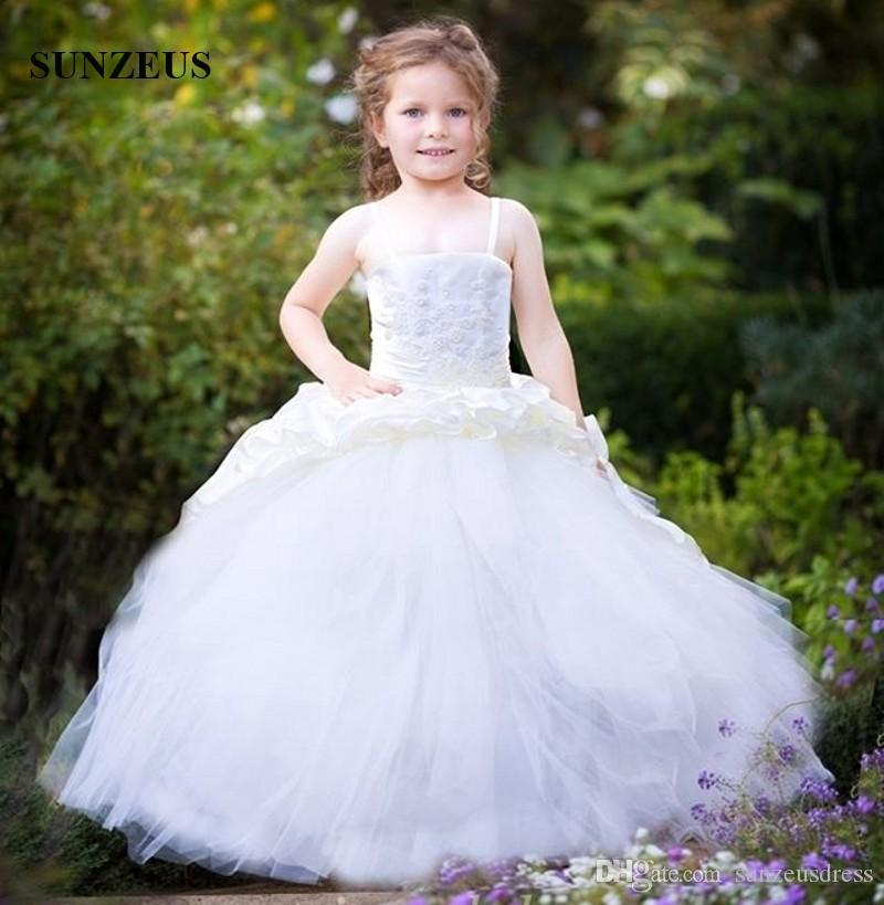 c90b1f7ac99 Ball Gown Spaghetti Straps Flower Girl Dresses 2018 Appliques Corset Ruched  Satin Kids Wedding Party Gowns Puffy Tulle Ivory Children Dress Teenage Girl  ...