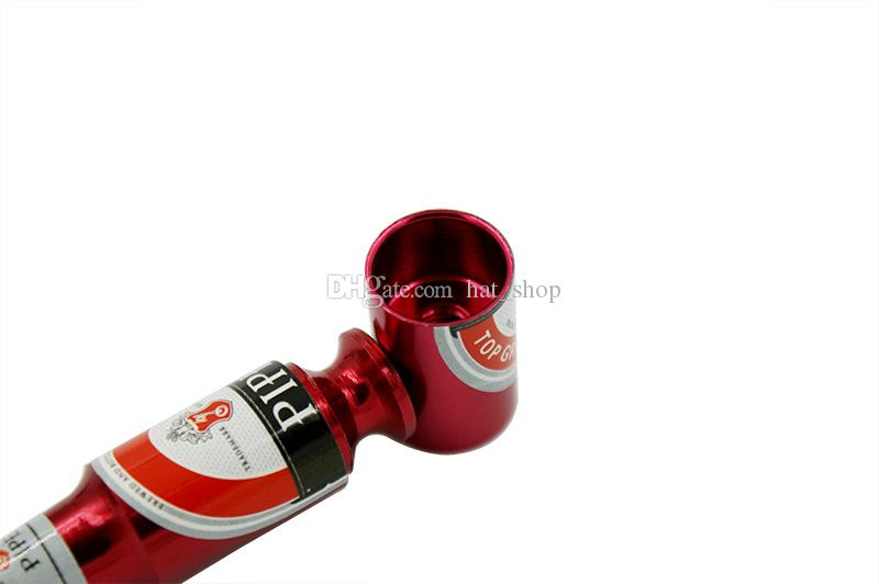 Small Beer Bottle Metal Smoking Hand Pipe Oil Burner Mini Size Tobacco Smoke Filter Pipes Smoking Accessories Beer Wine Pattern High Quality