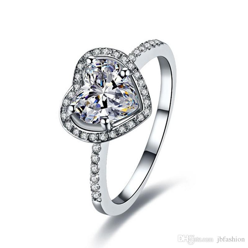 Halo 2 CT Platinum Plated Engagement Heart Ring Micro Paved Synthetic Diamond Proposal Ring for Women Romantic Sterling Silver Jewelry Ring