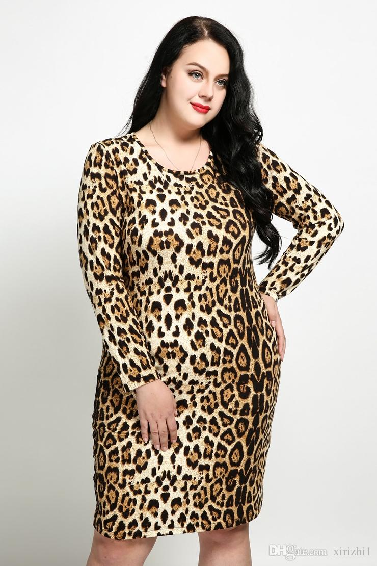 70c1b5b36a Sexy Leopard Print Dress For Fat Women One Piece Elastic Long Sleeve Plus  Size Midi Dress 4xl 5xl 6xl Plus Size Dresses Formal Dresses From Xirizhi1