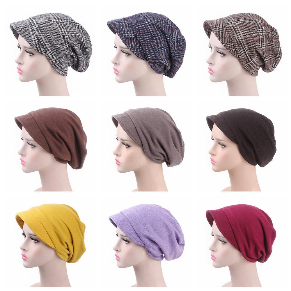 0368e546195f2 Women Fashion Plaid Pile Cap Lady Baotou Slouch Stingy Brim Hat ...