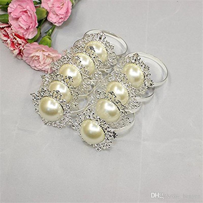 Wholesale Faux Pearl Wedding Decor Napkin Ring Beige Servet Ring