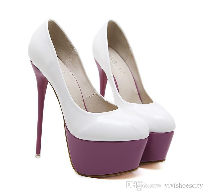 9e3bbaa057b8 Spring Bride White Purple Wedding Shoes Round Toe Platform High Heels Pumps  16cm Designer Shoes 2018 Size 34 To 40 Vegan Shoes Cheap Heels From ...