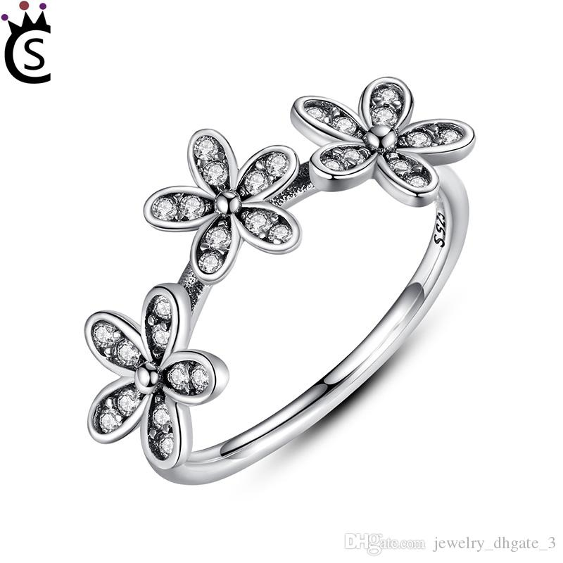 Authentic 925 Sterling Silver Wedding Rings Silver Three Flower