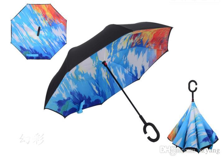 Windproof Reverse Folding Double Layer Inverted Chuva Umbrella Self Stand Inside Out Rain Protection C-Hook Hands For Car Wholesale SN1036