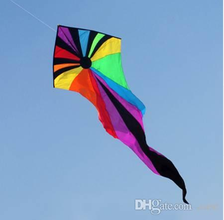 Emmakites 6 5M Kite Flying Single Line Power Triangle Kites Popular Rainbow  Ghost Kite With Tail Outdoor Toys For Children Adult