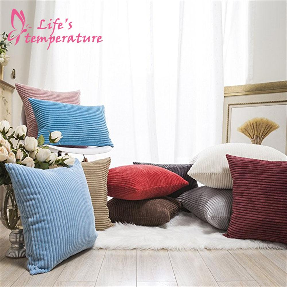 Wholesale fall decor pillow covers soft decorative striped corduroy velvet square throw pillow sofa cushion covers set for couch patio furniture replacement