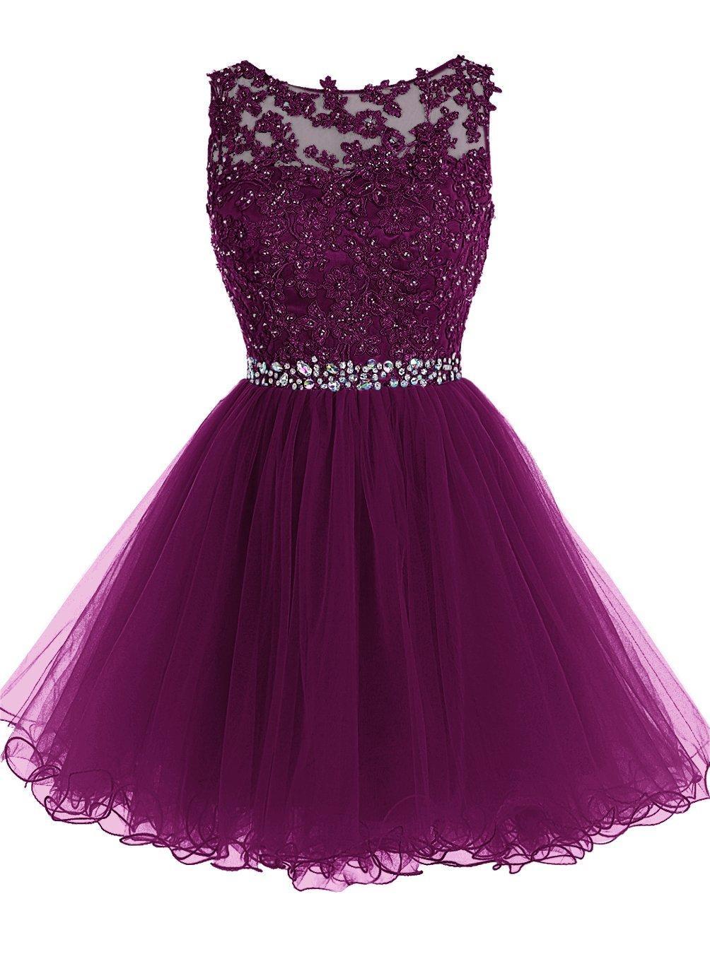 Сладкие 16 Короткие платья выпускного вечера шнурка Аппликация с хрустальные бусины Puffy Тюль платья партии Little Black Выпускной Homecoming Gowns