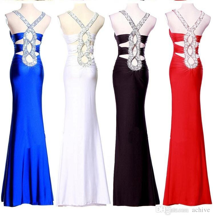 Moda Red Black Blue Mermaid Prom Dresses economici 2018 con perline Paillettes Increspato Criss Cross Back Abiti da sera sexy Abiti da festa sexy USA UK