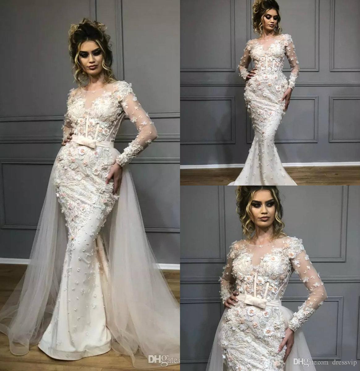 81564b58b Compre Sirena 2019 Vestidos De Novia Con Tren Desmontable Joya Con Cuello  Apliques De Encaje Vestido De Boda Rural Manga Larga Tallas Grandes Vestidos  De ...