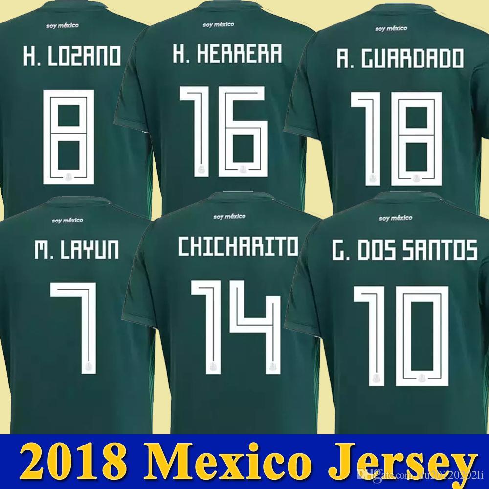 f73fd042ae5 2018 Mexico Soccer Jersey Home green Away white 17 18 CHICHARITO Camisetas  de futbol Hernandez LAYUN G DOS SANTOS LOZANO football shirts