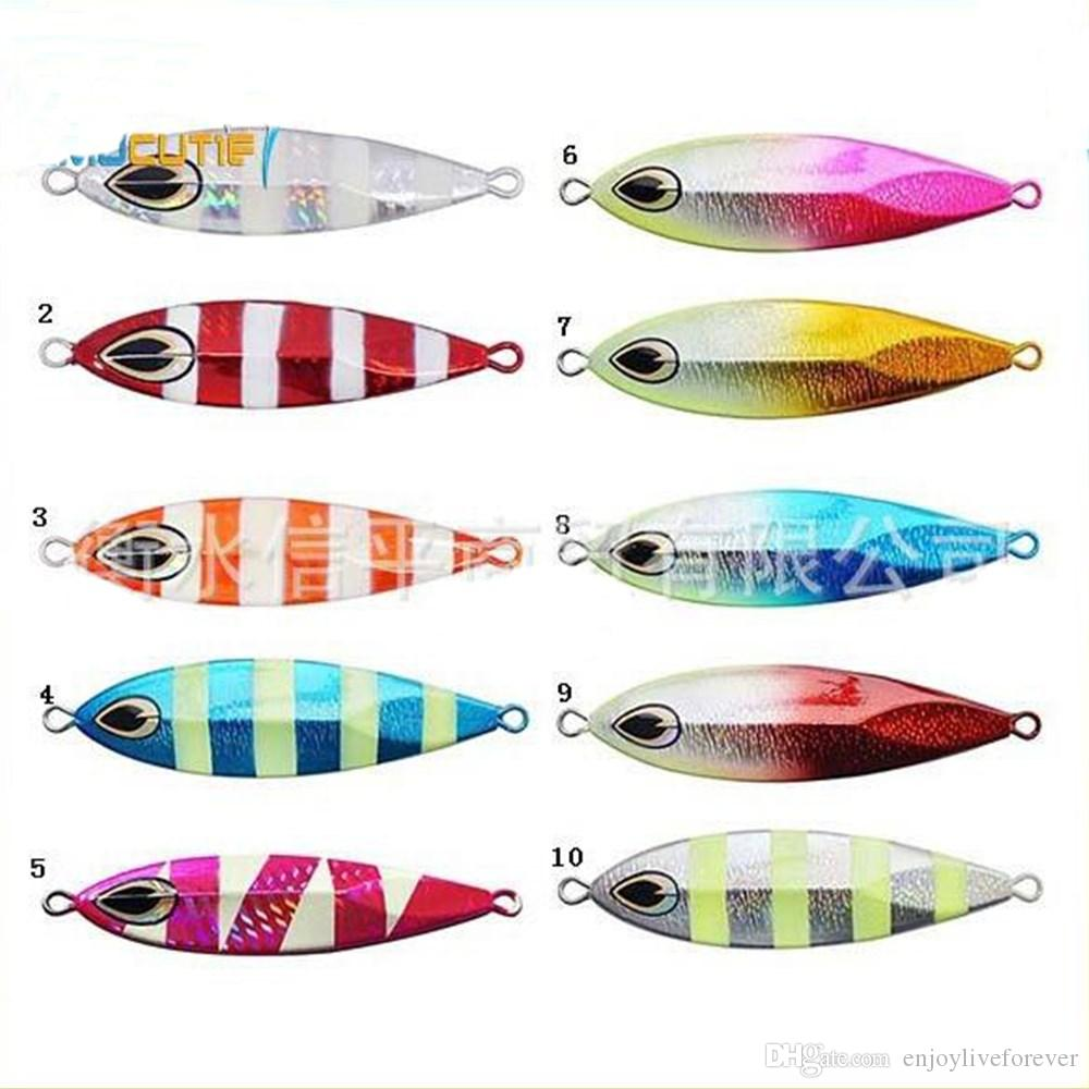 Slow Sinking Jigging Lures 40g-180g Salt Water Fishing Lures Metal Lead Fish Bait Luminous Fishing Baits no Hook