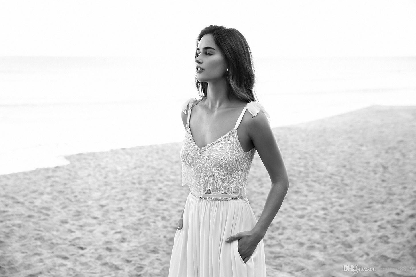 2019 Sexy Lihi hod Lace Boho Wedding Dresses Bride Gowns Spaghetti Neck Bow Beads Backless Beach Chiffon Wedding Gowns