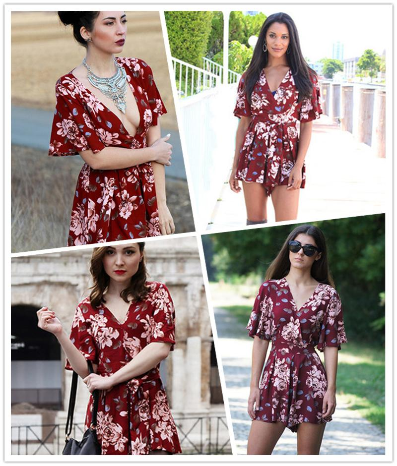 3e96e39bfc5c 2019 Shorts Rompers Womens Jumpsuits Summer Ladies Red Sexy Deep V Neck  Short Sleeve Floral Tie Waist Female Casual Jumpsuit From Clothingcart