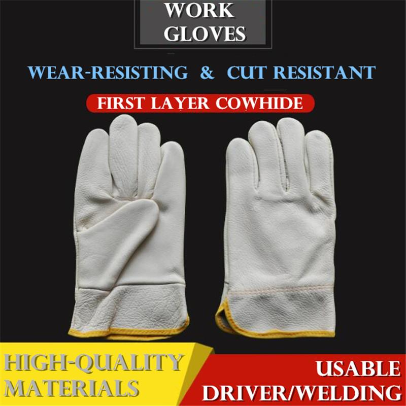 First Layer Cowhide Work Gloves Cut Resistant Driver/welding Multifunction Wear-resisting Adiabatic Mens Leather Gloves Back To Search Resultsapparel Accessories