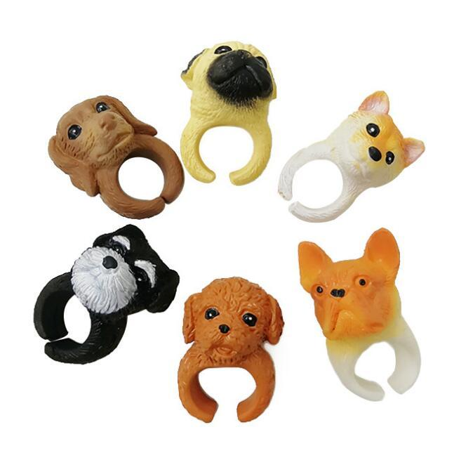 6 styles dog opening rings cartoon designs cute bend ring