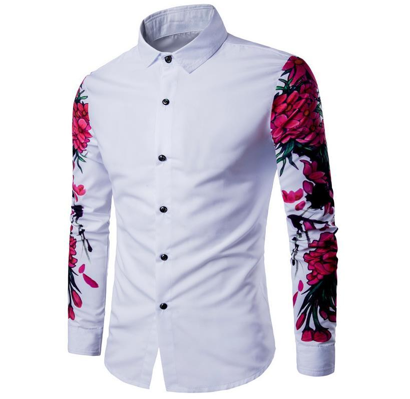 2019 Men Chemise Homme 2017 Men Long Sleeve Flower Printing Shirt Fashion  Slim Fit Casual Shirt ,ASIAN SIZE G7312 From Baica,  25.03   DHgate.Com efe37e1c8ab