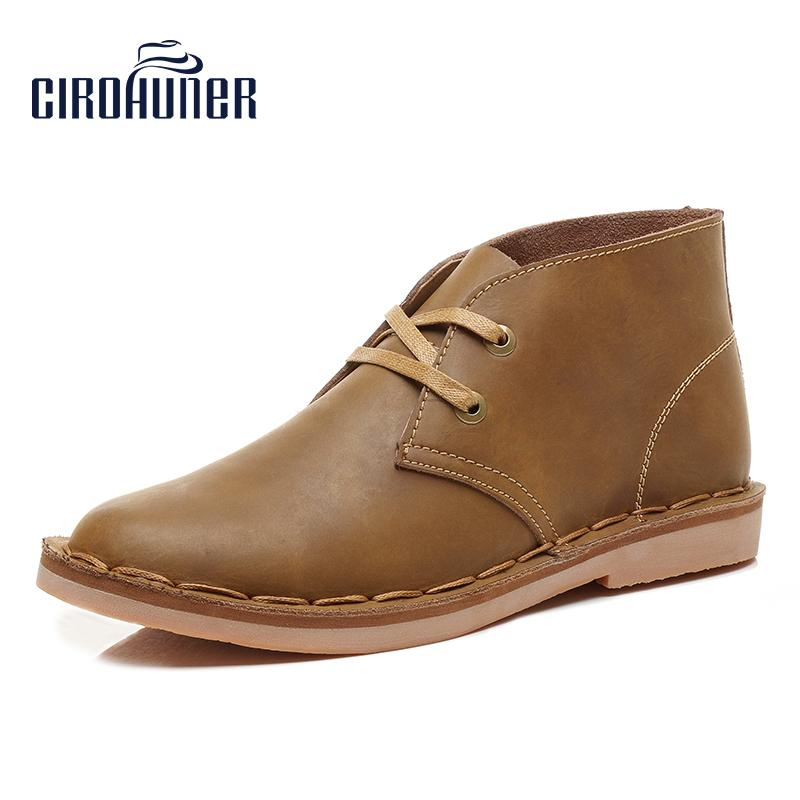 e1b8b01f0dc7 CIROHUNER Men Boots Chukka Boot Laces Leather Fashion Casual Work Loafers  Booties Low Heel Formal Men s Sneakers Shoes Girls Boots Black Ankle Boots  From ...