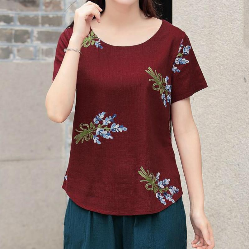 New Summer Top Vintage Embroidery Floral Ladies T Shirt Women Tops