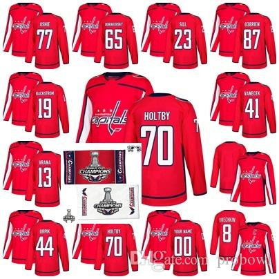 7a1e5a9f6 2019 2018 Stanley Cup Final Champion Washington Capitals T.J. Oshie 19 Nicklas  Backstrom 8 Alex Ovechkin 44 Orpik 70 Braden Holtby Hockey Jerseys From ...
