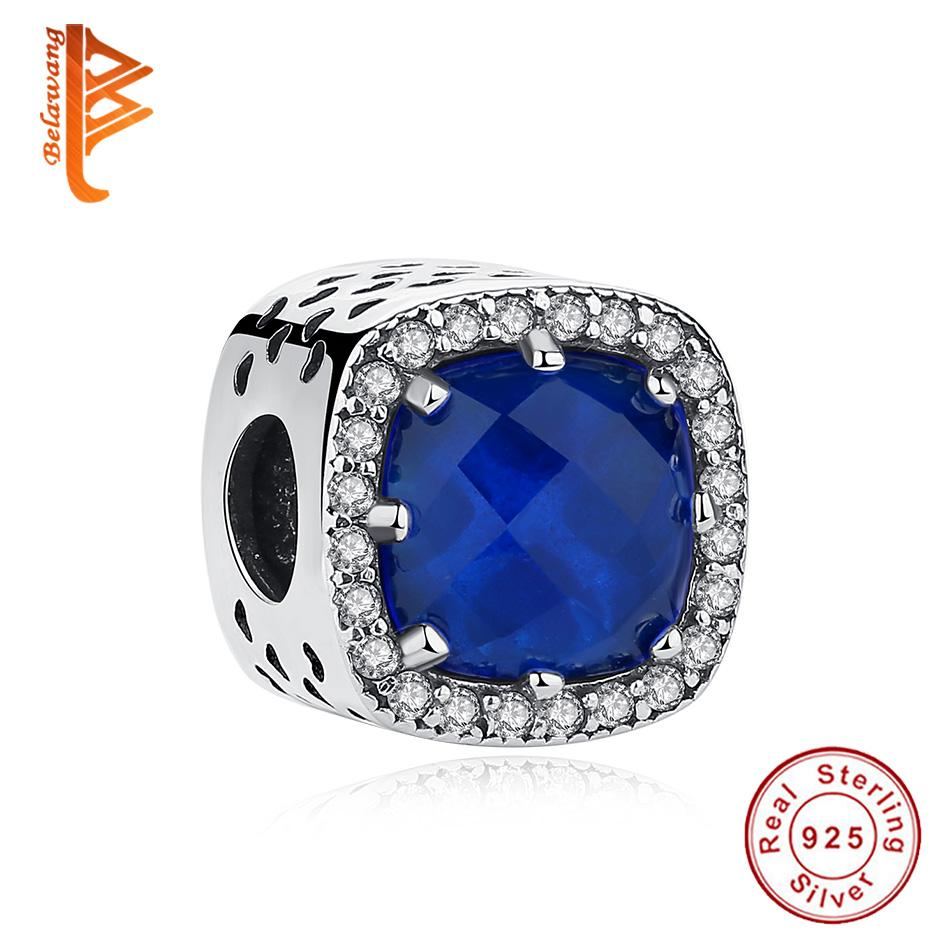 e298c5fd4 BELAWANG Blue Crystal Beads Clear Cubic Zirconia Charm Fit Pandora Charm  Bracelets 925 Sterling Silver Women Jewelry Mother's Day Gift