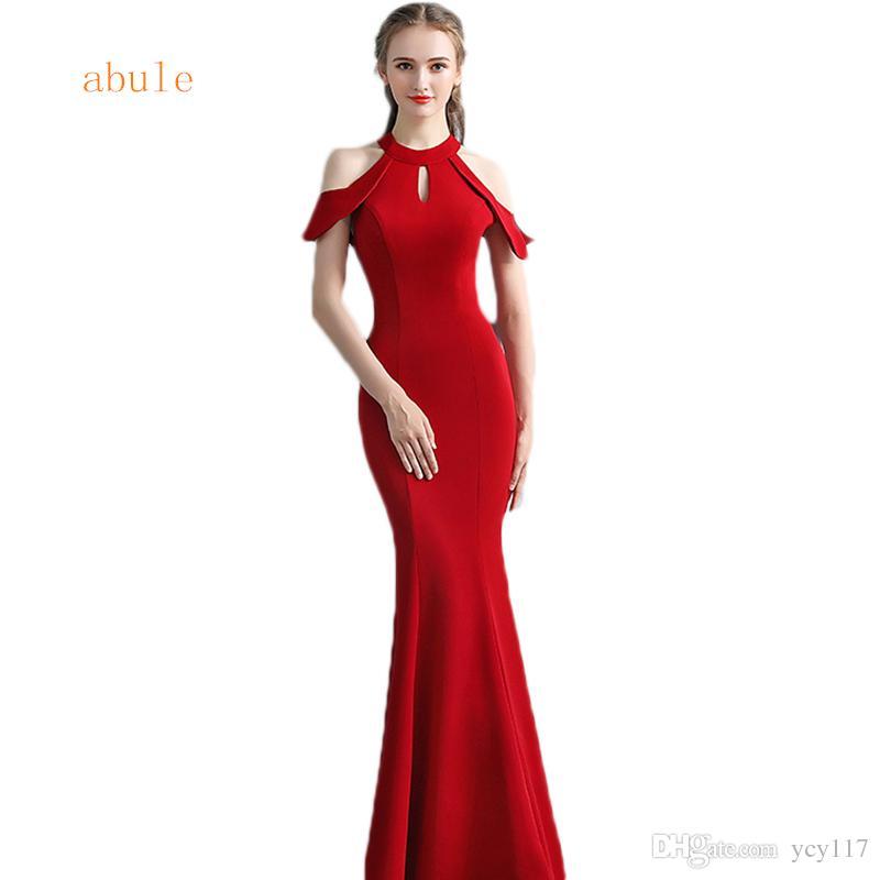 Acquista Abiti Da Sera Lunghi Rossi Elegante Sirena Senza Maniche In Raso  Donne Abiti Da Sera Formale Arabi Abiti Da Festa 2018 Abule A  85.43 Dal  Ycy117 ... b7ae5bc74e9