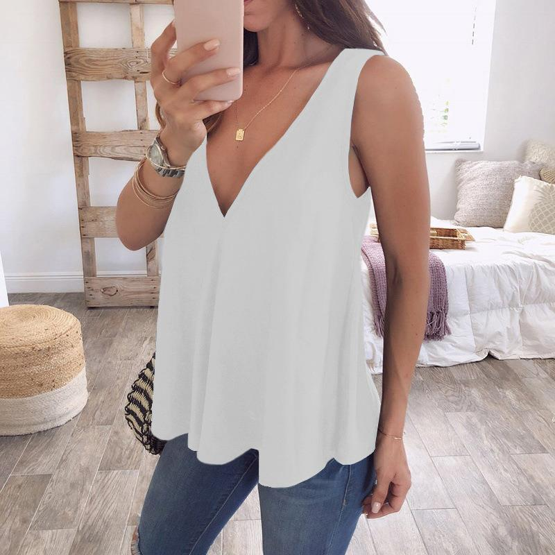 f3aa1f592746f 2019 Plus Size 5XL Womens Tops And Blouses Fashion Sleeveless Chiffon Shirt  Blouse Women V Neck Tops Blusa Feminina WS8508M From Edwiin04