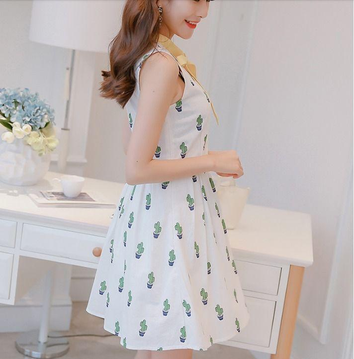 957c2a1494b Casual Knee-Length Cactus Print Sleeveless Bowknot Decorated Women Summer  Dress Online with  10.45 Piece on Angelsdress s Store
